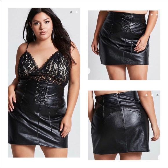96de963aaa1 NWT black faux leather corset lace up skirt
